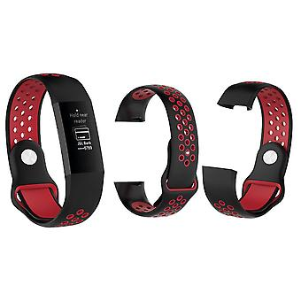 Aquarius Fitbit Charge 3 Silicone Replacement WatchStrap Band - Small, Black/Red