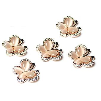 5 Rose Gold Butterfly Flatback Diamante and Pearl Embellishments