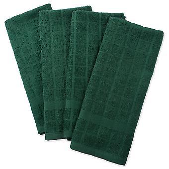 Dii Solid Dark Green Windowpane Terry Dishtowel (Ensemble de 4)