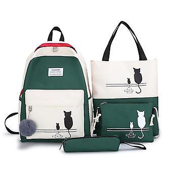 Women Canvas Cat Pattern School Bag, Patchwork Backpack