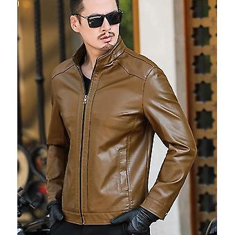 Printemps et automne Zipper Mens Sheepskin Leather Jacket Father Outwear