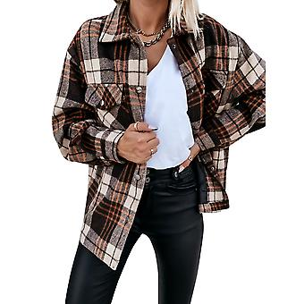YANGFNA Women's Plaid Jacket Button Down Checked Coat