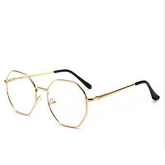Vintage Anti Blue Light Glasses Frame With Degree Round, Myopia Lens