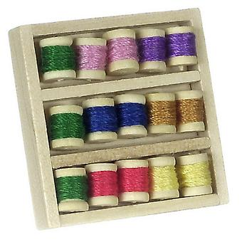 Dolls House Miniature Haberdashery Sewing Room Accessory Box Of Cotton Reels