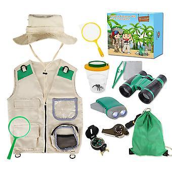 Genround odkryty explorer zestaw z kamizelką kostium i kapelusz, prezenty zabawki dla 6-10 lat chłopców dziewcząt ex