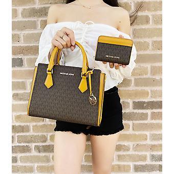 Michael kors hope satchel bag crossbody brown mk marigold + md zip wallet