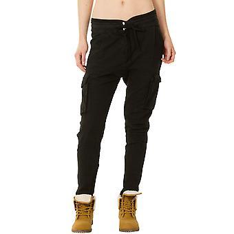 Lightweight Combat Trousers Linen Mix Tapered Leg - Black