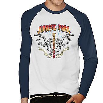 Jurassic Park Rock Band Lightning Raptor Symmetry Men's Baseball Pitkähihainen T-paita