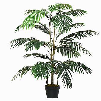 Outsunny 140cm/4.6FT Artificial Palm Plant Decorative Tree w/ 20 Leaves Nursery Pot Fake Plastic Indoor Outdoor Greenery Home Office Décor