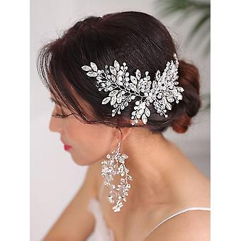 Wedding Hairstyles Silver Headdress Jewelry Crystal Headband And Earrings Set