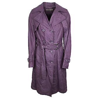 Creenstone Purple Double Breasted Trench Coat With Waist Belt