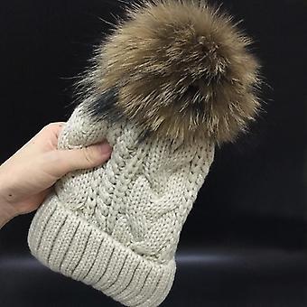 Adicionar veludo de lã dentro de beanies chapéus de inverno - 100% Raccoon Fur Pom Pom Hat