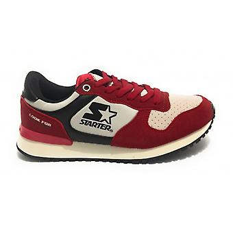 Men's Running Starter Sneaker in Suede/ Nylon Red/ Black/ Silver U20st06