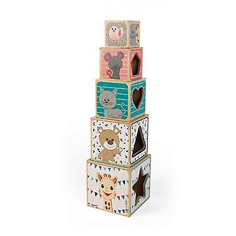 Janod sophie la girafe block wooden pyramid 5pc