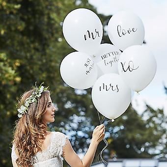 White Wedding Balloons- Mr Mrs Balloons - Botanical Decorations x 6