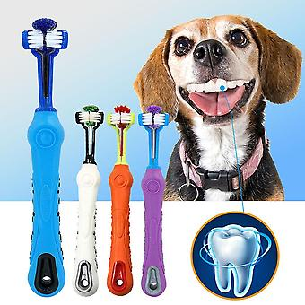 Dog Toothbrush Soft Pet Cat Toothbrush Withthree Sided Dogs Rubber