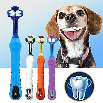 Hund Zahnbürste weiche Haustier Katze Zahnbürste mitdreiseitigen Hunde Gummi