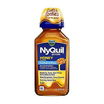 Vicks nyquil severe honey cough, cold and flu medicine, 12 oz