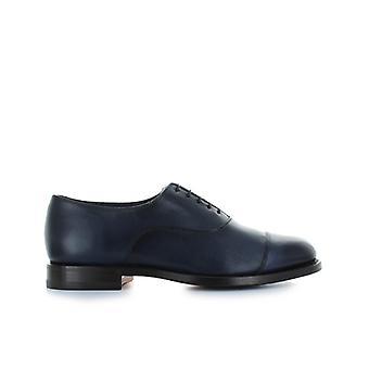 Santoni Blue Leather Oxford Lace Up