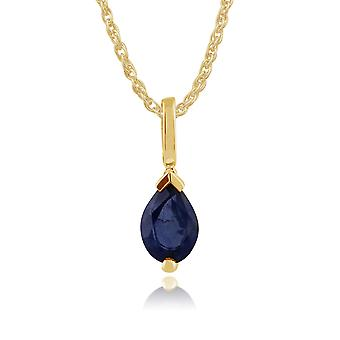 Classic Pear Light Blue Sapphire Pendant Necklace in 9ct Yellow Gold 123P0117259