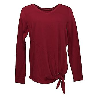 Anybody Women's Top Long Sleeve Side Tie Red A380728