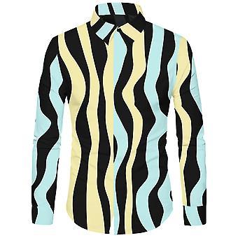 Allthemen الرجال التجريدي الأصفر والأخضر موجة مخطط عارضة قميص طويل الأكمام