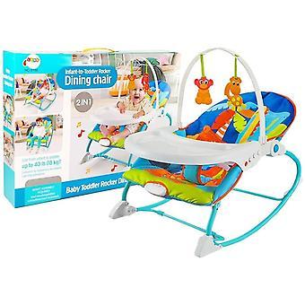 Schaukelstuhl mit Ess-Top und Spielbogen – Baby Schaukelstuhl – Blau