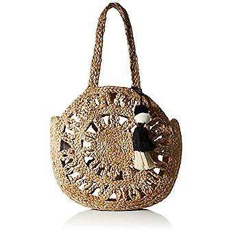 PIECES PCMANI Jute Round Bag, Case. Woman, Nature, 40x37x2 cm