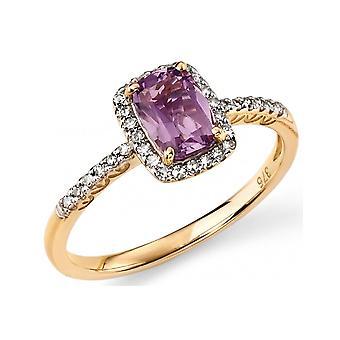 9 CT oro bianco 0,15 carati diamante anello