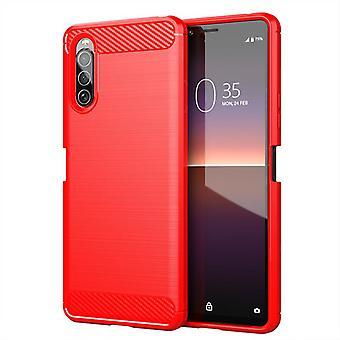 Tpu hiilikuitukotelo Sony xperia 10 plus punainen mfkj-972