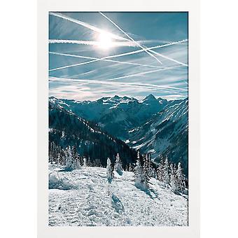 JUNIQE Print - Austriackie Alpy zimą - Plakat górski w kolorze niebieskim i białym