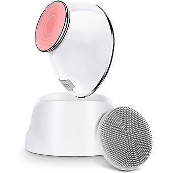 Gesichtsreinigungsbürste, 6x Tiefenreinigung mit Heizungsmassage & Sonic Vibration, abnehmbare Silikonbürste, wiederaufladbar, weiß