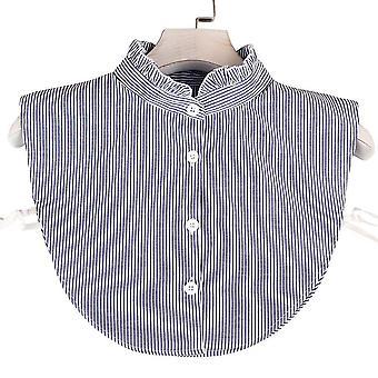 Blauwe strepen staan op afneembare blouse nep kraag katoen valse kraag