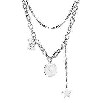 Lange kvinder halskæde doublelayered sølv legering sweater kæde vedhæng kraveben kæde til udstilling