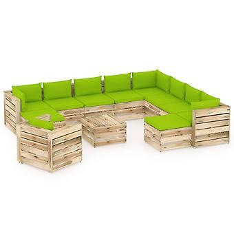 vidaXL 12 pcs. Garden Lounge Set with Cushion Green Impregnated Wood