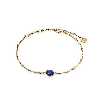 Daisy Lapis Healing Stone Bobble 18ct Gold Plate Bracelet HBR1004_GP