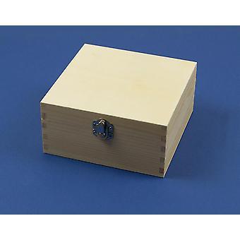 16cm grote vierkante houten doos met gesp te versieren | Houten dozen voor ambachten