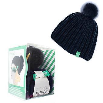 Ribbed Knit Hat with Pom Pom Adults Knitting Craft Kit - Navy