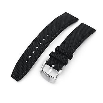 (22mm)  Fabric Watch Strap 20mm, 21mm or 22mm Strong Texture Woven Nylon Black Watch Strap, Brushed