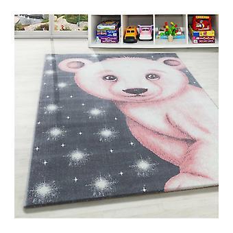 Short Pile Polar Bear Design Alfombra para niños Habitación para niños Habitación para bebés Alfombra gris rosa