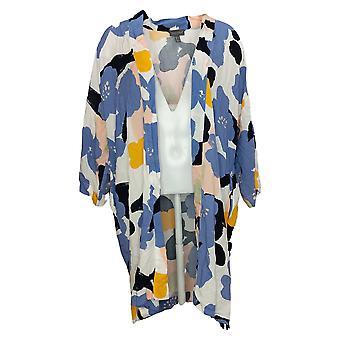 Modern Soul Women's Sweater Plus Printed Wrap Cardigan Blue 663798