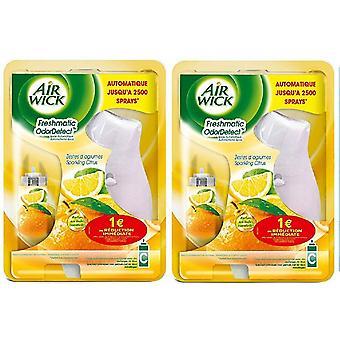 2 x Air Wick Freshmatic Compact Autospray Holder And Refill 24Ml - Cítricos espumosos