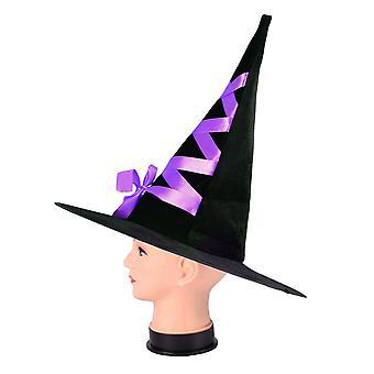 כובע מכשפה קורדרוי ליל כל הקדושים עם סרט עבור מסיבות נשף מסכות Cosplay