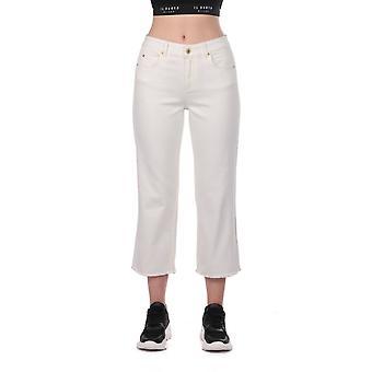 hvit kvinners brede ben denim jeans