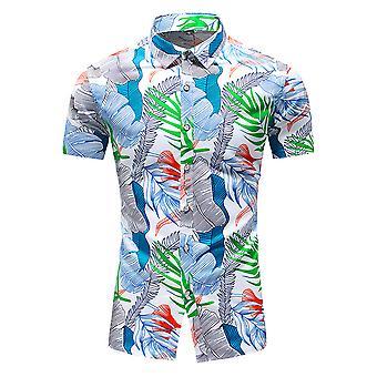 Silktaa Men's Botanical Print Summer Pointed Collar Short Sleeve Beach Shirt