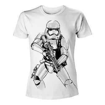 Star Wars Vii Siła budzi dorosły mężczyzna uzbrojony szturmowców szkic T-Shirt ekstra duży biały (TS204394STW-2XL)