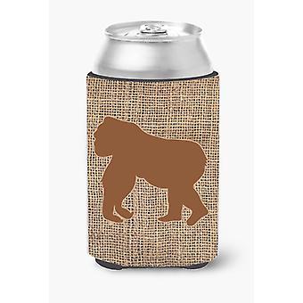 Gorilla Burlap and Brown Can or Bottle Beverage Insulator Hugger