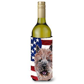 Norwich Terrier mit amerikanische Flagge USA Wein Flasche Getränk Isolator Hugger
