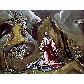 Die Qual im Garten Poster Druck von El Greco