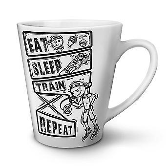 食べる睡眠鉄道スポーツ ホワイト ティー コーヒー セラミック カフェラテ マグカップ 17 oz |Wellcoda